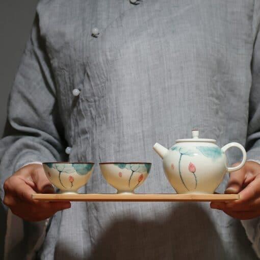 Lotus Ceramic Tea Set