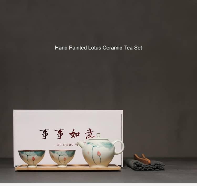 everything goes well lotus ceramic tea set