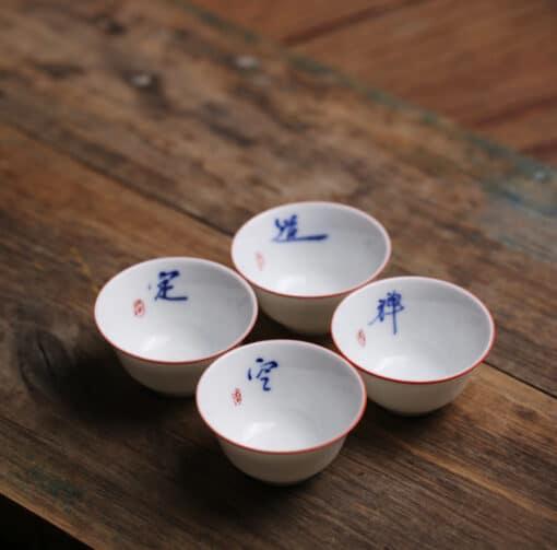 handwritten calligraphy teacup